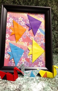 Origami Angelfish Art in 5x7 Frame Charming and by LeNoirBleu