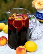 Basic Sangria Recipe//1 750 mL Bottle red wine (Cab), 1 Lemon cut into wheels, 1 Orange cut into wheels, 2 TBSP Sugar, 1 Shot Brandy, 2 Cups Ginger Ale, 1 Large can of diced pineapple (With Juice)