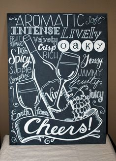 Wine Lover Kitchen Chalkboard with Wine Glass and Bottle