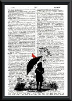 Rain Puddles Vintage Book Page Art von LilysNurseryShop auf Etsy Book Page Art, Old Book Pages, Illustrations, Illustration Art, Street Art, Newspaper Art, Foto Transfer, Dictionary Art, Mix Media