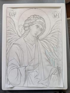 Line Drawing, Painting & Drawing, Glass Etching Stencils, Illumination Art, Byzantine Icons, Archangel Michael, Religious Icons, Gold Work, Orthodox Icons