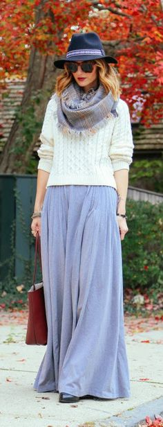 Pleated Maxi Skirt and Plaid Scarf
