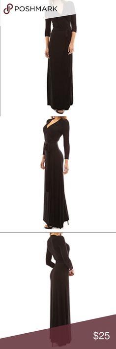 Patty Boutik Black Long Wrap Dress Patty Boutik Black Long Wrap Dress. True wrap, never worn NWT. Size xl, but fits more like a large. Very soft stretchy material. Pet friendly, smoke free home. PattyBoutik Dresses