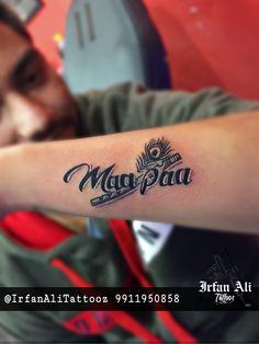 Maa Paa Tattoo, K Tattoo, Shiva Tattoo, Band Tattoo, Tattoo Quotes, Mom Dad Tattoo Designs, Maa Tattoo Designs, Trishul Tattoo Designs, Mom Dad Tattoos