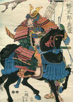 "Yoshifuji Japanese woodblock print ORIGINAL Ukiyoe Samurai ""Minamoto Yoshiie"""