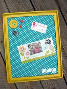 DIY framed magnet board!  Easy peasy with a frame, fabric and metal sheet!