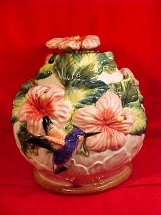 Vintage Majolica Hummingbird Humming Bird Hybiscus Flowers Cookie Jar