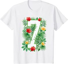 Amazon.com: Floral Number 7 Flower Seven Gardener Summer Flowers T-Shirt: Clothing
