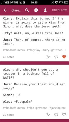 Mortal Instruments Funny, Shadowhunters The Mortal Instruments, Shadowhunters Series, Clockwork Princess, Cassie Clare, Cassandra Clare Books, Clace, The Dark Artifices, City Of Bones