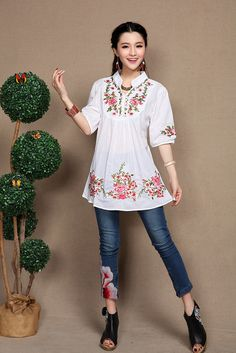 2016 de la nueva vendimia étnico Floral con cuello en v floja bordada flores Boho mexicano campesino elegantes blusas envío gratis