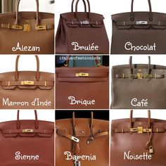 Brown HERMES leather color chart