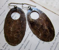 Hammered Rustic Antiqued Brass Oval Gypsy Boho Earrings