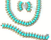 Vintage Turquoise Parure Set Kramer Necklace Earrings Bracelet