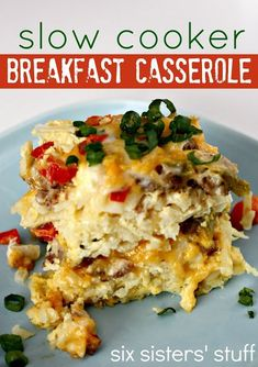 This Slow Cooker Breakfast Casserole is a delicious meal that can cook while you sleep! #slowcooker #breakfast #sixsistersstuff - Try this recipe with Johnsonville Italian Sausage!