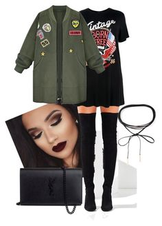 """""""lucky for you, that's what i like"""" by africaouass on Polyvore featuring Jeffrey Campbell, Boohoo, WithChic, Yves Saint Laurent, Azalea, brunomars, thatswhatilike and 24kmagic"""