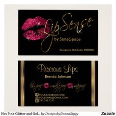 Hot Pink Glitter and Gold Lips Business Card Black Business Card, Custom Business Cards, Business Card Design, Gold Lips, Pink Lips, Lipsense Business Cards, Hair Salon Logos, Christmas Campaign, Business Hairstyles