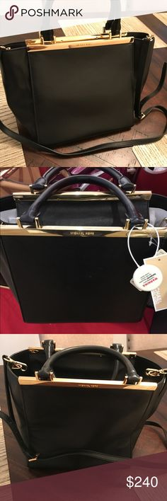Michael Kors Lana leather tote✨ CALLING ALL MK LOVERS!👜 Black with STUNNING gold hardware. ✨ Not too flashy, it is the perfect amount of elegance!! Dress up or down! Has handles or long removable and adjustable strap to carry.  Many pictures to show the bag from all angles.  Literally has only been used a HANDFUL of times. There is some wear on bottom hardware of course from setting the purse down. A few scuffs noted on front and back as pictured. Inside still has leather scent and dust bag…