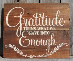Gratitude Turns What We Have Into Enough Hand Painted Wooden Pallet Sign by AnchoredSoulDesignCo on Etsy