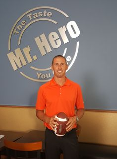 Cleveland's WR, Brian Hartline on the set of a Mr. Hero TV commercial.