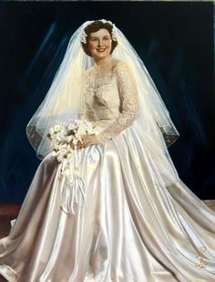 Hand Tinted Colored 1950s Wedding Portrait by QueeniesCollectibles, $22.99