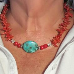 Beautiful red coral and turquoise necklace Beautiful coral necklace with a real  turquoise  bead bought in new mexico but latch where the name of maker is broken. n/a Jewelry Necklaces