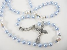 Personalized Baptism Rosary Blue and White Swarovski Pearls for a Baby Boy on Etsy, $40.00