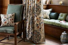 Inspired by the bed curtains hanging in William Morris's home in Kelmscott Manor and were originally embroidered by May Morris in Art Deco Design, E Design, Interior Design, Bed Curtains, Hanging Curtains, Morris Homes, Painted Rug, Embroidered Cushions, Shop Logo
