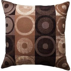 HomeTrends Better Homes and Gardens Circles and Squares Decorative Pillow, Brown Pillow Fabric, Pillow Set, Throw Pillow Covers, Pillow Talk, Couch Pillows, Accent Pillows, Brown Cushions, Indian Home Decor, Designer Pillow