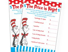 Dr Seuss Cat in the Hat Inspired Baby Shower Price is Right Game Pack.