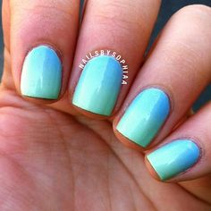 Blue into green Gradient♡ nail art design -- Colors used: Essie Bikini So Teeny Sally Hansen Mint Sorbet