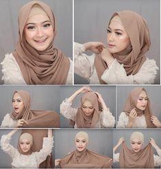 Tutorial Hijab Pesta, Simple Hijab Tutorial, Pashmina Hijab Tutorial, Hijab Style Tutorial, Stylish Hijab, Modest Fashion Hijab, Casual Hijab Outfit, Muslim Fashion, Hijab Turban Style