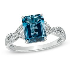 Emerald-Cut Swiss Blue Topaz and Diamond Accent Ring in 14K White Gold - Zales