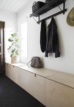 Besides tables, you can rely on benches as your house's entryway furniture. An entryway bench can be as simple as a plank of a wood, long bench. If you have had one entryway . Read Entryway Bench Ideas that are Useful and Beautiful Diy Bench, Bench With Storage, Storage Ideas, Hallway Inspiration, Interior Inspiration, Entryway Furniture, Entryway Decor, Entryway Bench, Entryway Ideas