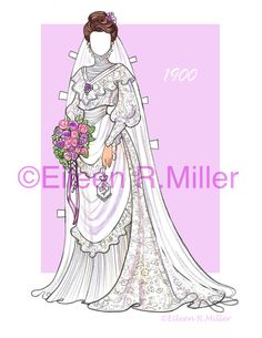 20th Century Brides Paper Doll by PaperDollsbyERMiller on Etsy
