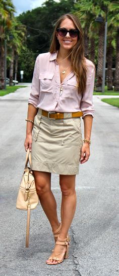 could replicate with any button down, but thinking chambray with khaki skirt, neutral pump sandals