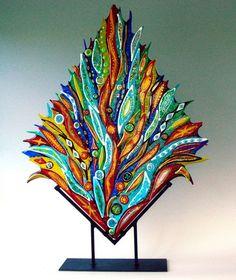 Pyrotechnical Celebration - Fused glass sculpture by Jeff & Jaky Felix / Joyful Imagination Glass Fused Glass Plates, Fused Glass Art, Stained Glass Art, Glass Vase, Mosaic Art, Mosaic Glass, Slumped Glass, Wow Art, Glass Wall Art