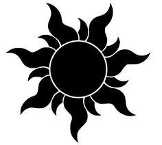 black sun tattoo motive of Rapunzel movie - Art Tattoo Rapunzel Film, Rapunzel Sun, Tangled Sun, Disney Tangled, Rapunzel Tattoo, Tangled Tattoo, Tangled Flower, Disney Tattoos, Silhouettes Disney