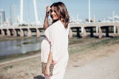 Maternity Style: the most comfortable pink, draped dress for any trimester! #asos