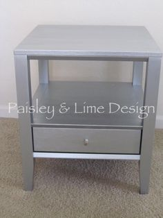 Silver End Table with Drawer by PaisleyandLime on Etsy, $95.00