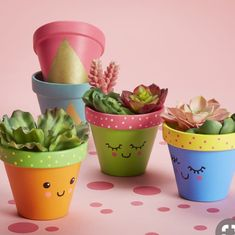 Mothers Day Crafts For Kids Discover Martha Stewart Crafts Basic Brush Set 5 Pc Painted Kawaii Clay Pot Flower Pot Art, Flower Pot Design, Flower Pot Crafts, Clay Pot Crafts, Cactus Flower, Small Flower Pots, Diy Crafts Home, Easy Crafts, Plant Crafts