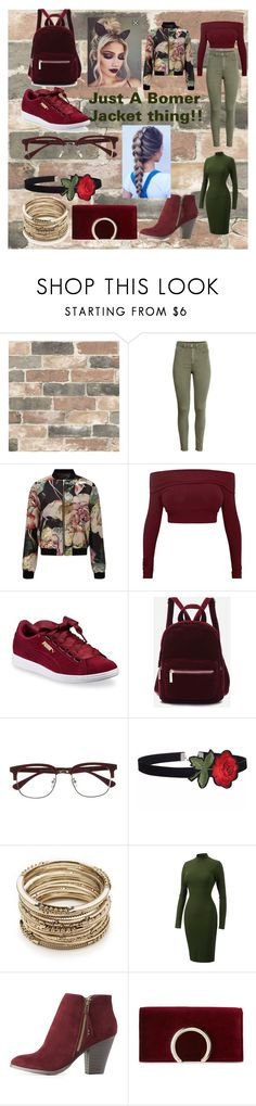 """""""Bomer Jacket Syle"""" by jasmine-stepter on Polyvore featuring Wall Pops!, Miss Selfridge, Puma, EyeBuyDirect.com, Sole Society, Charlotte Russe and Jessica McClintock"""
