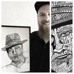 A happy customer, Lars, with his latest purchase from a mile in the woods; a hand drawn A3 portrait of the Danish singer/songwriter Allan Olsen. An absolute pleasure drawing this special request! Inspired by my Thom Yorke illustration, made with love. (And we hope Allan likes it too;) #a_mile_in_the_woods #amileinthewoods #drawing #handmade #graphicdesign #design #craft #interior #decoration #copenhagen #denmark #pencil #ink #homedecor #københavn #work #louisehaugaardnielsen #illustration…