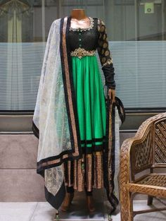 Sea Green and Black Net  Anarkali Suit With Handwork