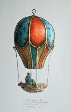 Купить Синяя Птичка - комбинированный, nadine pau, елочная игрушка, аэростат, птичка в гнездышке, птичка