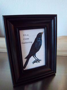 Folk art crow art print primitive framed blackbird by iwathd09, $10.00
