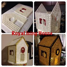 """1. Trace shape of panels onto grid paper. 2. Pipe using royal icing. I piped over the grid pattern and then on the diagonals to make lattice. Pipe over outline again. Make sure to keep the door open and at least 2"""" wide. 3. Dry for at least two days. 4. Carefully assemble like a gingerbread house using royal icing as glue. 5. Let dry and paint corners with edible gold paint. 6. Attach any candy or decor with royal icing. 7. Place an LED candle inside through the open door to make it glow."""