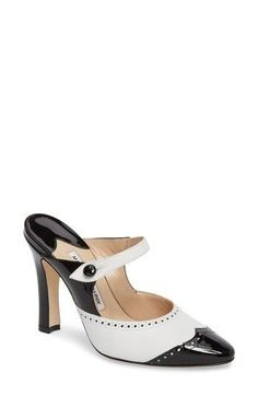 Free shipping and returns on Manolo Blahnik Agatha Wingtip Mule (Women) at Nordstrom.com. A mule silhouette with a mary-jane strap puts a modern twist on this classically elegant style, featuring a patent-leather wingtip and lightly flared stiletto heel.