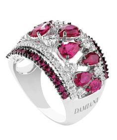 Damiani - Regina Cleopatra - white gold ring with diamonds & rubins