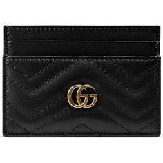 Gucci Gg Marmont Card Case ($250) ❤ liked on Polyvore featuring bags, wallets, accessories, black, wallets & small accessories, women, card slot wallet, gucci bags, leather credit card holder wallet and leather card holder wallet
