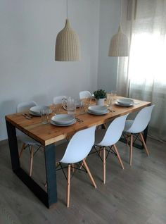 Mesa Comedor Industrial Madera Y Hierro 1,60x80x76 - $ 6.899,00 Diy Home Decor, Room Decor, Dinner Room, House Inside, Dining Room Design, Dining Room Table, Home And Living, Sweet Home, Decoration